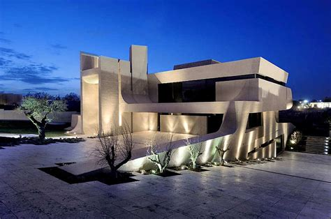 design house exterior lighting a cero architects madrid house concrete spanish
