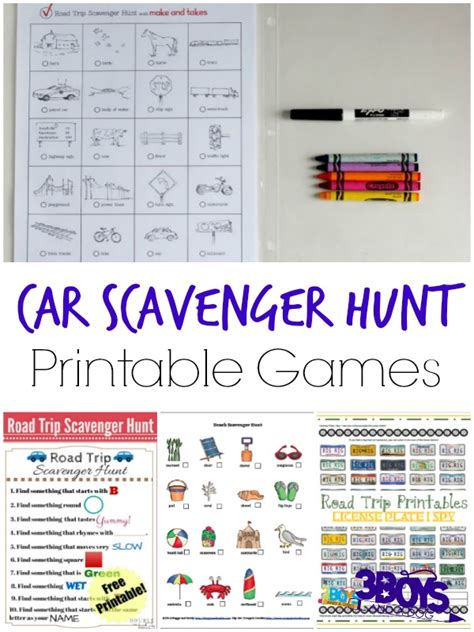 printable games for in the car car scavenger hunt printable games 3 boys and a dog 3