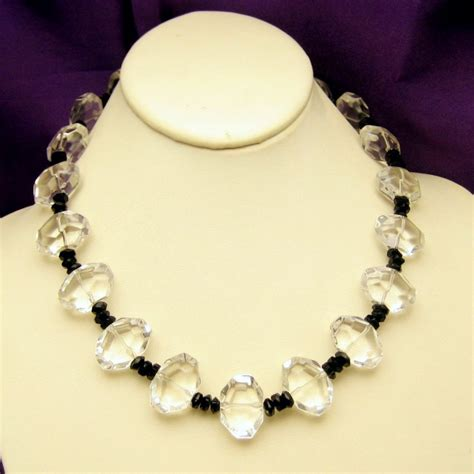 vintage chunky glass necklace clear black unique