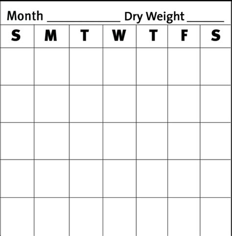 printable calendar large spaces 10 best images of blank weekly weigh in chart weekly