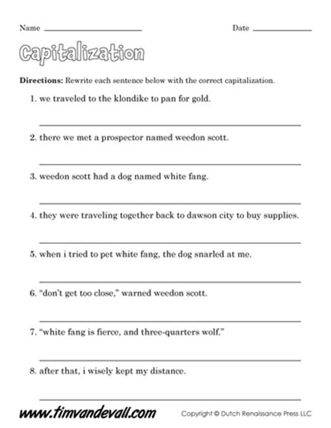 Capitalization Worksheets by Tim De Vall Comics Printables For