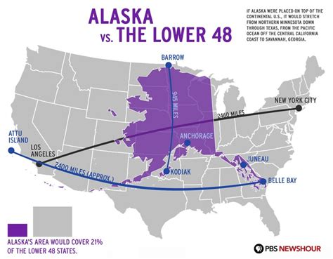 alaska map continental us alaska vs the lower 48 pbs newshour