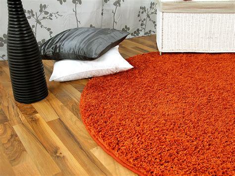 teppiche terracotta hochflor langflor teppich shaggy orange rund