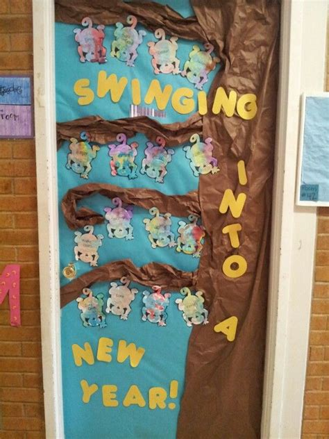 new year teaching ideas new year door decoration each child watercolored a monkey