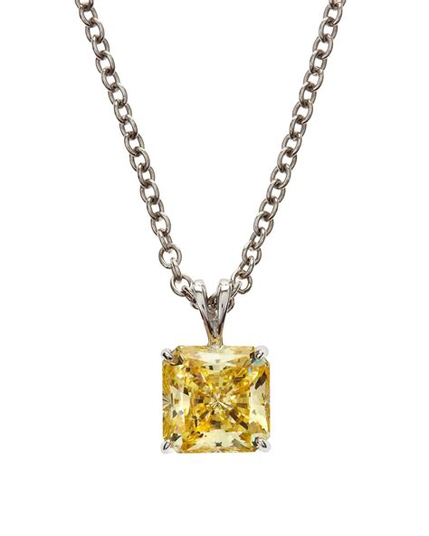 fantasia by deserio square canary cz pendant necklace in