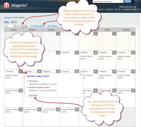 Calendar Search Extension Magento Events Extension With Events Calendar View Sell
