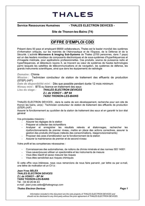 Exemple Lettre De Motivation Candidature Spontanée Organisation Internationale Technicien Conducteur De Station