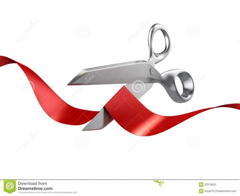 Scissors Cutting Red Ribbon Stock Illustration Image 23118591 Free Ribbon Cutting Template