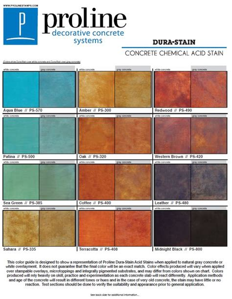 acid stain concrete colors dura stain acid stain color chart offered by proline
