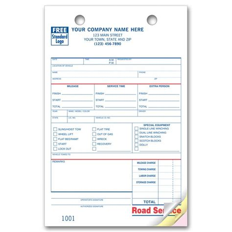 Road Service Towing Register Forms Free Shipping Towing Forms Template