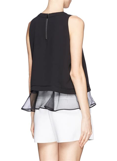 Sale Bangkok Organza Top elizabeth and tierney silk organza layer top on sale black tanks tops womenswear