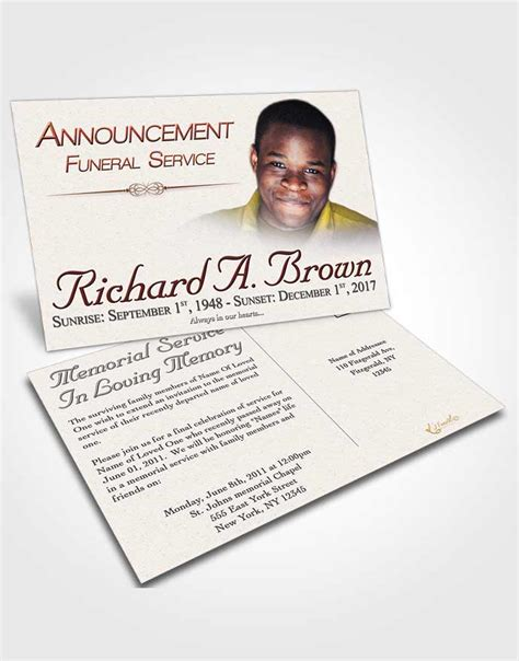 Announcement Card Template Elegant Bliss Template Funeral Announcement