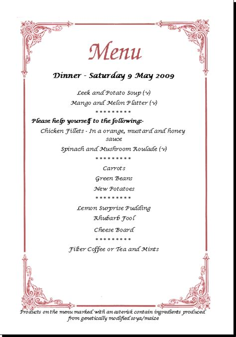 3 course dinner menu farm house cooking and catering at the glenholm centre