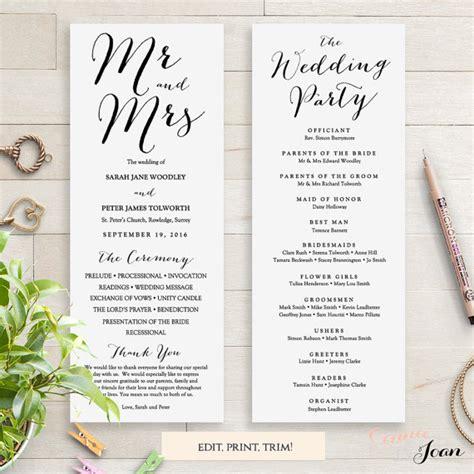sle of wedding program wording wedding programs instant template sweet by connieandjoan