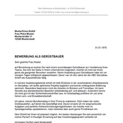Anschreiben Firma Vorstellen bewerbung als ger 252 stbauer ger 252 stbauerin bewerbung co