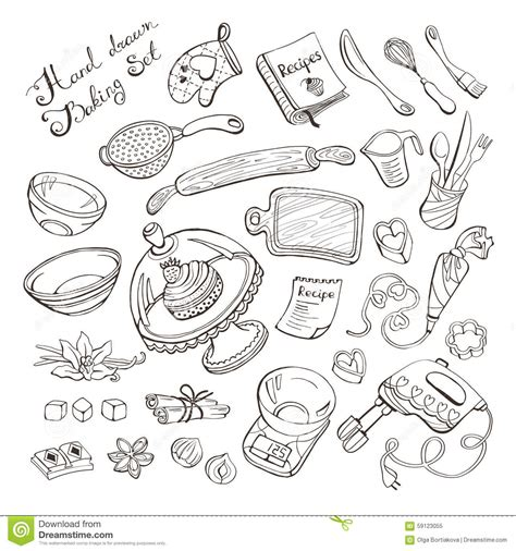 how to use doodle kit kitchen items for baking stock vector illustration of