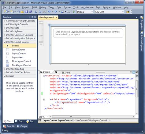 layout design visual studio silverlight layout control design time support in visual