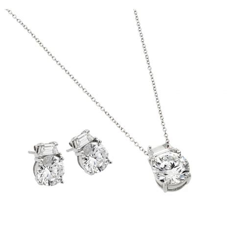 sterling silver cz stud earring and necklace set