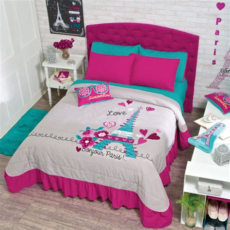 fuchsia bedding new teens girls aqua fuchsia pink gray eiffel tower paris