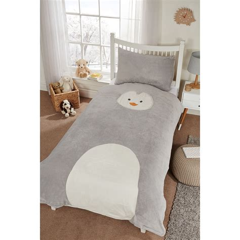 penguin comforter kids animal fleece duvet set single bedding b m