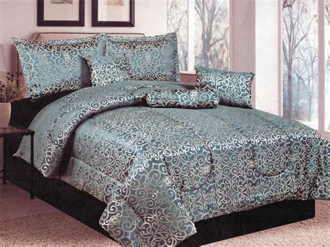 teal king comforter set 7 pc geometric floral damask motif jacquard comforter set