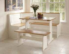 Kitchen Booth Furniture Linon Corner Nook Set White And Natural Finish