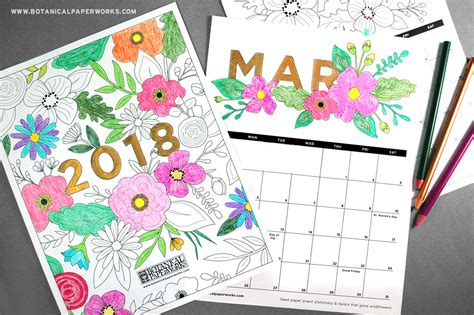 2018 coloring calendar monthly planner books 2018 printable calendar color gifts