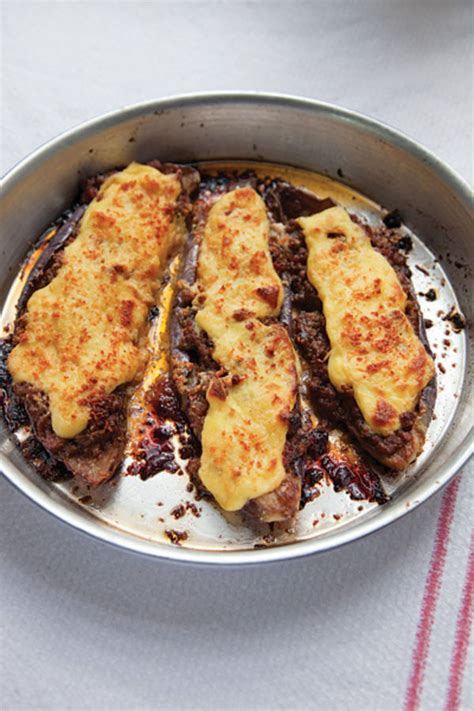 stuffed eggplant melitzanes papoutsakia stuffed eggplant recipe dishmaps