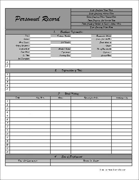 Personal Records Free Personalized Fancy Numbered Row Personnel Record Form From Formville