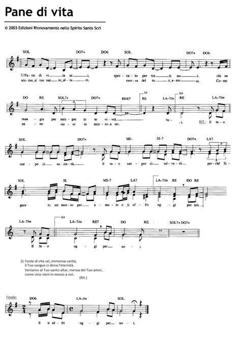 testi canzoni chiesa spartiti dei canti