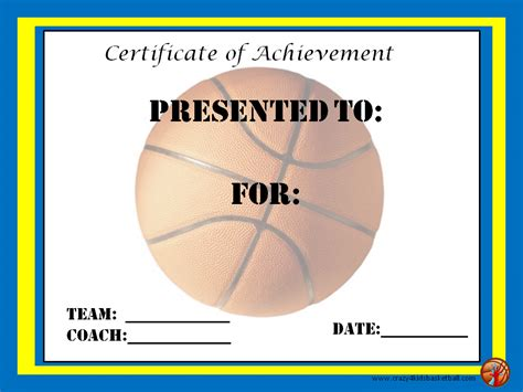 basketball certificates templates free basketball award certificates