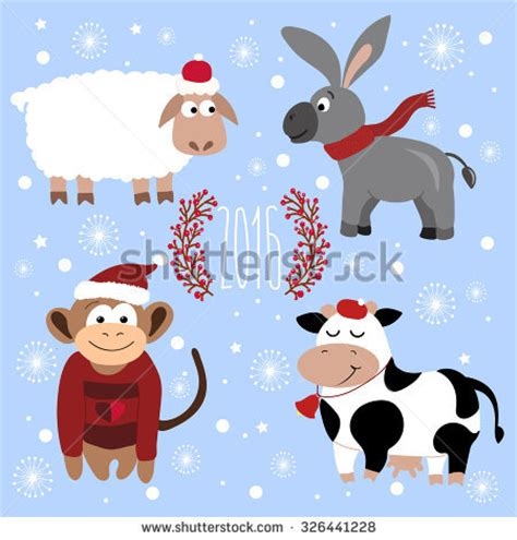 new year sheep monkey collection santa claus various postures stock vector