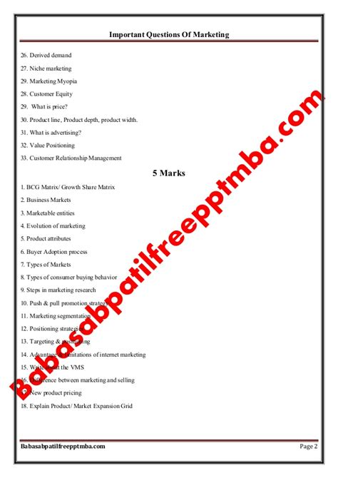 Questioning The Value Of An Mba by Marketing Management Module 1 Important Questions Of
