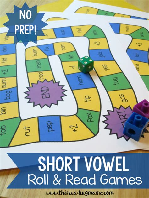 printable short vowel board games short vowel roll and read games