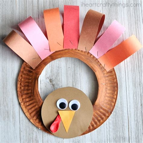 Fall Paper Plate Crafts - paper plate thanksgiving turkey wreath i crafty things