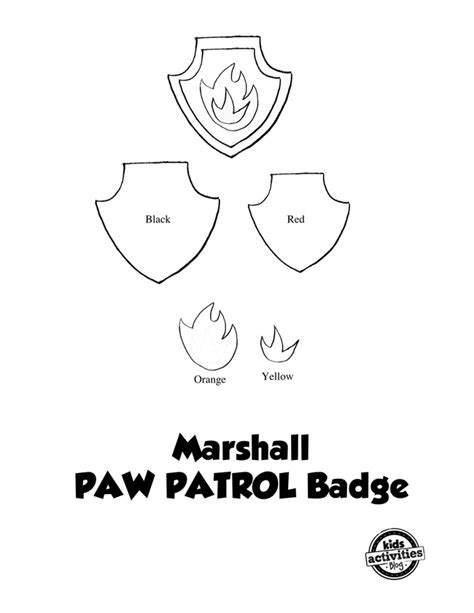 No Sew Paw Patrol Marshall Costume Paw Patrol Badge Template Printable