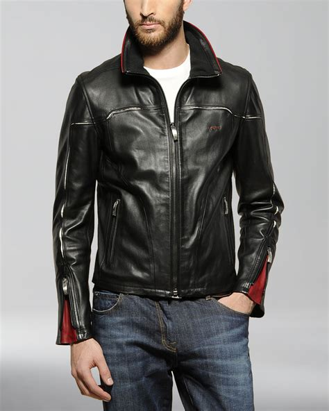 ferrari jacket lyst ferrari leather jacket in black for men