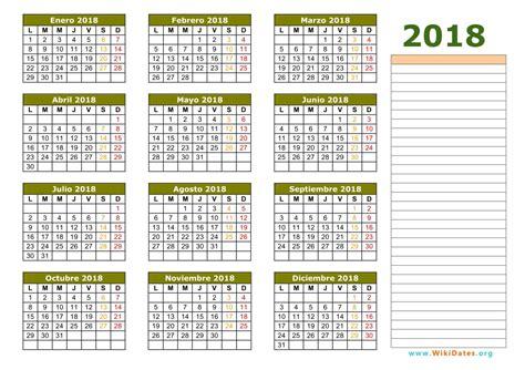 Calendario Anual 2018 Calendario 2018 Calendario De Espa 241 A 2018