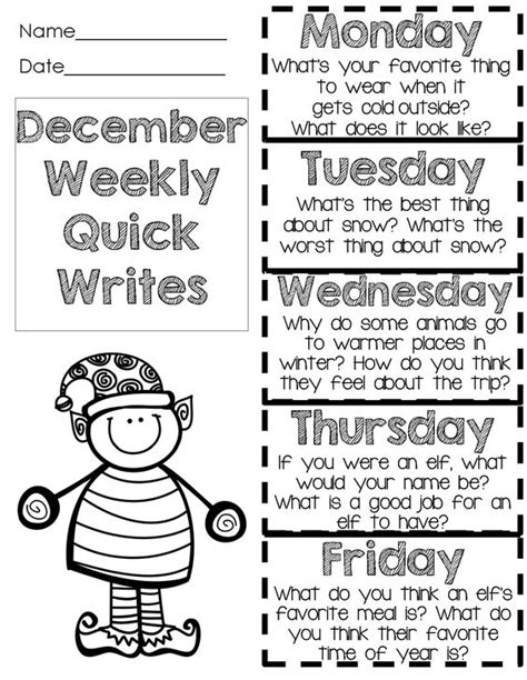 reading themes for december christmas activities writing prompts for december