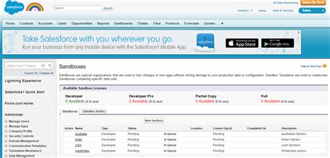 salesforce sandbox template sandbox not available in trial edition salesforce