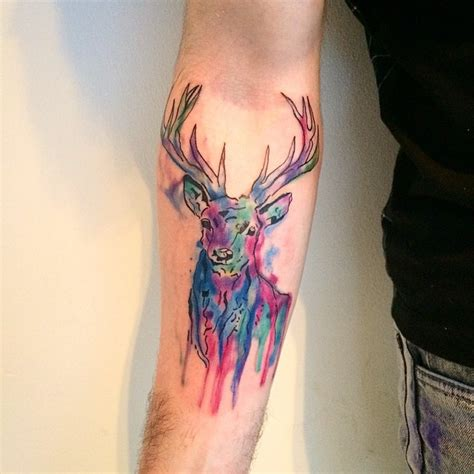 deer watercolor tattoo watercolor geometric elephant on forearm