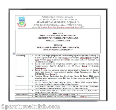 contoh surat tugas sk operator untuk pendaftaran di sdm