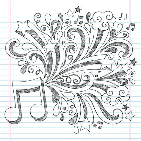 the sonars musical doodle free note sketchy notebook doodle vector illustra stock