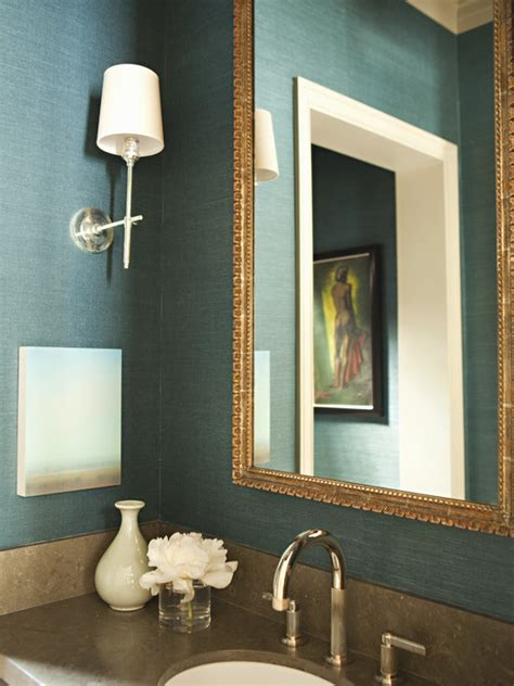 teal bathrooms teal grasscloth wallpaper transitional bathroom tim barber