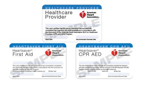 aha healthcare provider card template cpr certification card template