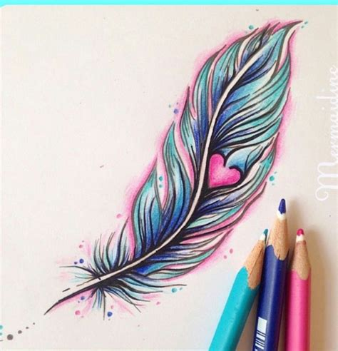 heart feather tattoo designs pretty feather colored pencil drawing sketch