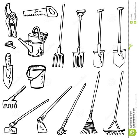 doodle drawing tools gardening tools doodles stock vector image of background