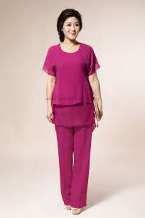 rose red chiffon mother of the bride pants suits with