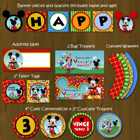 mickey mouse clubhouse printable birthday decorations mickey mouse clubhouse printable birthday party package
