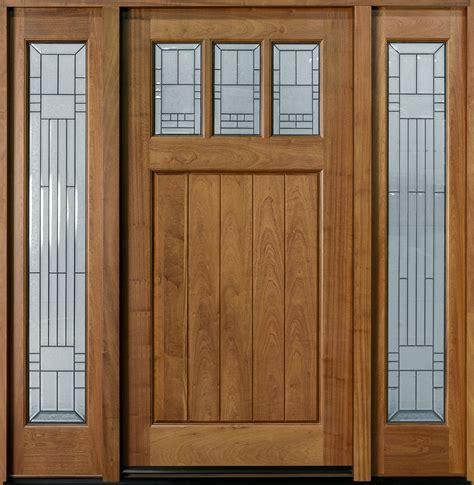 Front door custom single with 2 sidelites solid wood with light mahogany finish craftsman